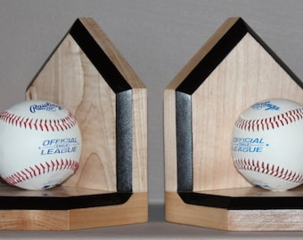 Solid Maple Bookends made with real baseballs
