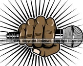 Black Hand Holding Microphone Audio Sound Voice Mic Music Studio Radio Hip Hop Rap Rapper Sing Singer Design Logo SVG PNG Clipart Vector Cut
