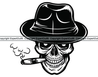f7a96b64d5e59 Smoking Skull  1 Cigar Bar Tobacco Leaf Burning Smoke Blunt Ash Ashes  Cigarette Classic Fedora Hat.SVG.PNG Clipart Vector Cricut Cut Cutting