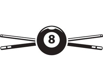 Billiards Pool Logo #3 Sticks Crossed Eight Ball Sports Game .SVG .EPS .PNG Instant Digital Clipart Vector Cricut Cut Cutting Download File