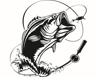bass svg etsy rh etsy com Bass Fish Bitmap Clip Art Fishing Lure Clip Art