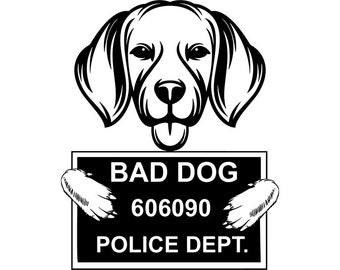 Beagle 40 Bad Dog Funny Jail Mugshot Cute Pedigree Bloodline Pet Breed K 9 Canine Foxhound Logo SVG PNG Clipart Vector Cricut Cut Cutting