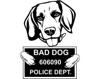 Beagle 35 Bad Dog Funny Jail Mugshot Cute Pedigree Bloodline Pet Breed K 9 Canine Foxhound Logo SVG PNG Clipart Vector Cricut Cut Cutting