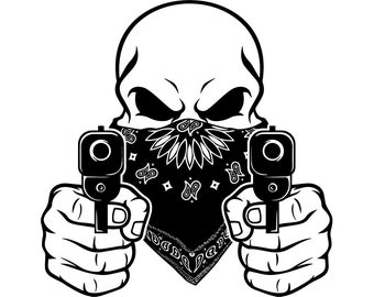 Gangster Skull 4 Gun Shoot Thug Fight Kill Bandanna Mask Weapon Criminal Crime Mobster Mob Mafia Logo SVG PNG Vector Cricut Cut Cutting