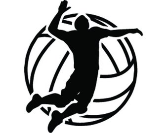 Volleyball Logo #6 Male Mens Boys Ball Player Sport Team Sport Competition Tournament School Beach Game.SVG .EPS .PNG Vector Cricut Cut File