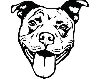 American Pit Bull #38 Happy Smiling Dog Paw Puppy Pet Terrier Breed Canine Purebred Pedigree Logo.SVG .PNG Clipart Vector Cricut Cut Cutting