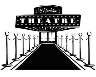 Theater Entrance 1 Red Carpet Movie Sign Play Cinema Performance Broadway SVG EPS PNG Digital Clipart Vector Cricut Cut Cutting Download
