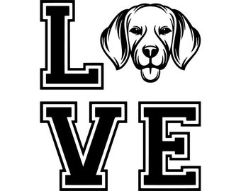 Beagle 26 Love Dog Smiling Puppy Paws Pedigree Bloodline Pet Breed K 9 Canine Foxhound Logo SVG PNG Clipart Vector Cricut Cut Cutting