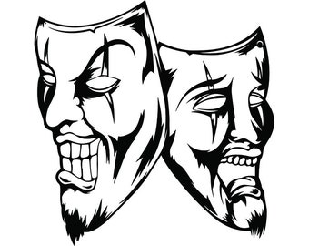 gangster theatre etsy 1920s Movie Screen happy sad masks 14 laugh now cry later clown face gangster biker thug tattoo illustration theater svg clipart vector cricut cut cutting
