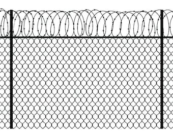 barbed wire fence 3 chain link straight razor barb fencing jail protection security prison svg eps png clipart vector cricut cut cutting broken chain link fence png8 broken
