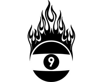 Billiards Nine Ball 20 Fire Flame Eight 8 9 Sport Pool Game Snooker Competition Icon LogoSVG EPS PNG Vector Cricut Cut Cutting