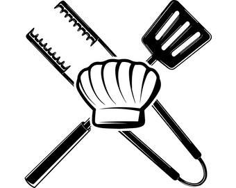 BBQ Logo  40 griglia grigliare carne pinze bistecca Barbecue macellaio  cappello Chef cibo ristorante di cucina. SVG. Vettore EPS File di taglio  taglio ... 8716901c1ea2