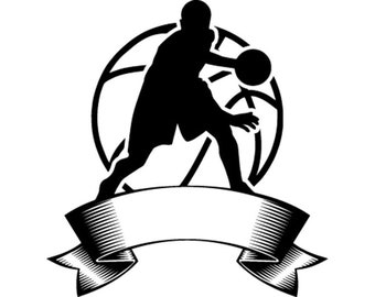 Basketball Logo 6 Player Ball Hoop Net Sports Game Icon School League Banner SVG EPS PNG Digital Clipart Vector Cricut Cut Download
