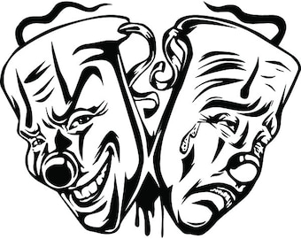 gangster theatre etsy Hollywood Movie Theatres happy sad masks 8 laugh now cry later clown face gangster biker thug tattoo illustration theater svg clipart vector cricut cut cutting