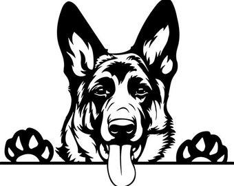 German Shepherd #24 Peeking Smiling Dog Breed K-9 Pet Police Cop Law Enforcement Pedigree Logo .SVG .PNG Clipart Vector Cricut Cut Cutting