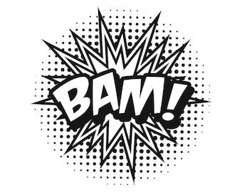 Comic Element 6 Action Bam Hit Speech Bubble Cartoon Callout Picture Book Design SVG EPS PNG Vector Cricut Cut Cutting Scrapbook