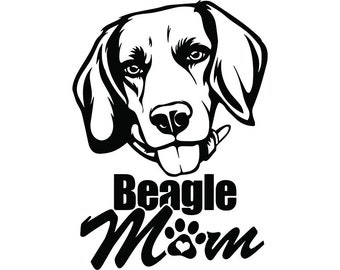 Beagle 19 Mom Happy Dog Smiling Puppy Paws Pedigree Bloodline Pet Breed K 9 Canine Foxhound LogoSVG PNG Clipart Vector Cricut Cut Cutting