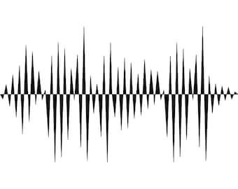 Sound Wave 1 Audio Vibration Music Technology Waveform Frequency Level Design Element LogoSVG EPS Clipart Vector Cricut Cut Cutting