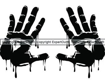 Bloody hand svg | Etsy