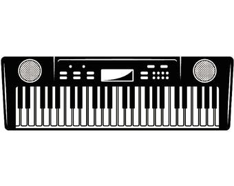 Electronic Keyboard 1 Musical Instrument Synthesizer Piano Music SVG EPS Instant Digital Clipart Vector Cricut Cutting Download Printable