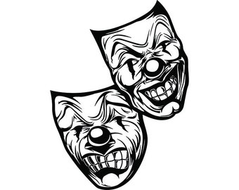 gangster theatre etsy Dyckman Street Movie Theatre Alpine happy sad masks 4 laugh now cry later clown face gangster biker thug tattoo illustration theater svg clipart vector cricut cut cutting