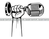 Hand Holding Microphone Audio Sound Recording Record Voice Mic Music Studio Radio Podcast .SVG .PNG Clipart Vector Cricut Cut Cutting