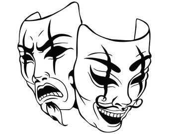 gangster theatre etsy 1920s Silent Movie Theaters happy sad masks 6 laugh now cry later clown face gangster biker thug tattoo illustration theater svg clipart vector cricut cut cutting