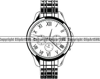 Pocket watch drawing | Etsy