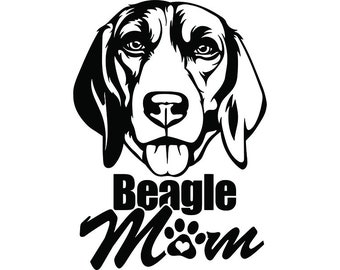 Beagle 22 Mom Happy Dog Smiling Puppy Paws Pedigree Bloodline Pet Breed K 9 Canine Foxhound LogoSVG PNG Clipart Vector Cricut Cut Cutting