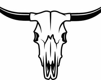 Bull Skull #1 Skeleton Bones Horns Cowboy Country Western Cow Cattle Steer Rodeo Ranch Old West.SVG .EPS .PNG Vector Cricut Cut Cutting File