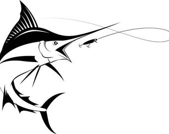 Marlin Logo #1 Deep Sea Ocean Water Fishing Hunting Fish Competition  Contest.SVG .EPS .PNG Instant Digital Clipart Vector Cricut Cut Cutting
