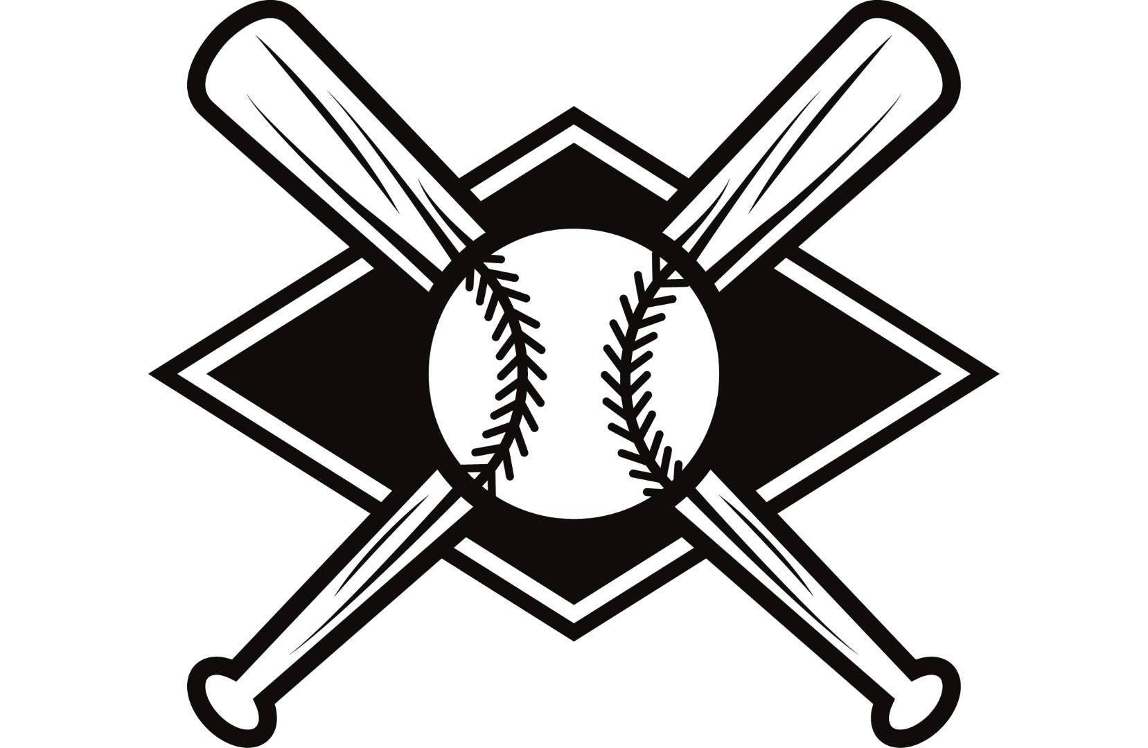 Baseball Logo 7 Bats Crossed Ball Diamond League Equipment ...