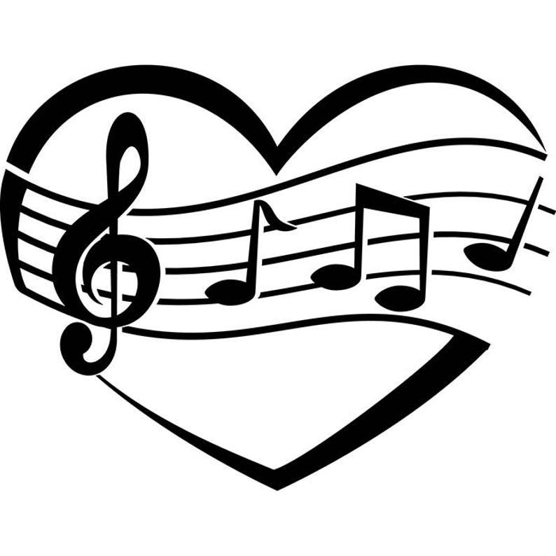 Heart Music Note Sign Symbol Sheet Love Musical Sound Shape Logo  SVG  EPS   PNG Instant Digital Clipart Vector Cricut Cutting Download File