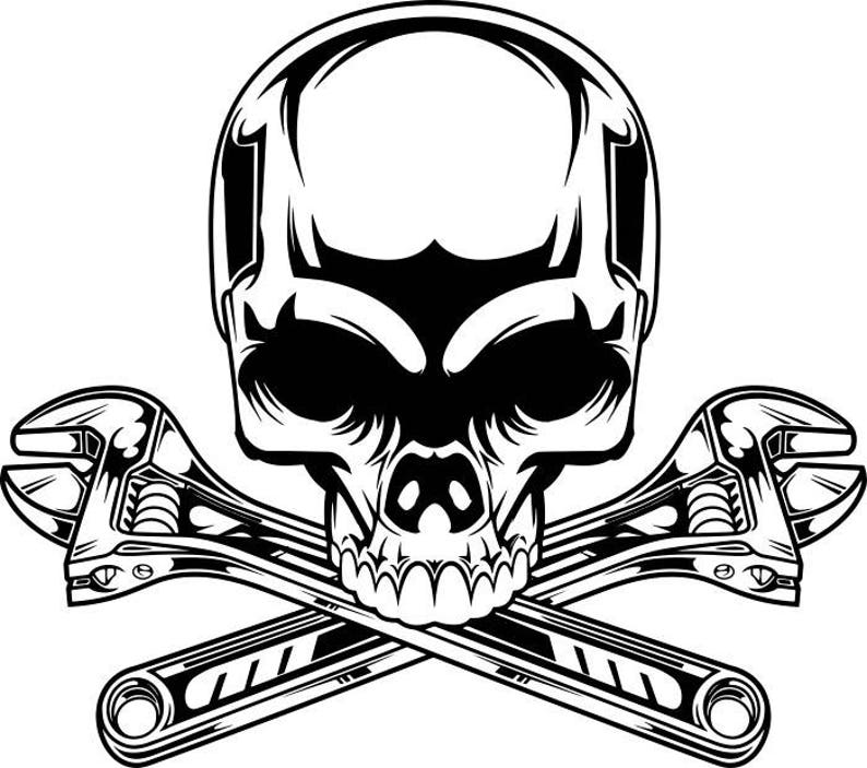 Mechanic Logo 2 Skull Wrench Crossed Engine Car Auto