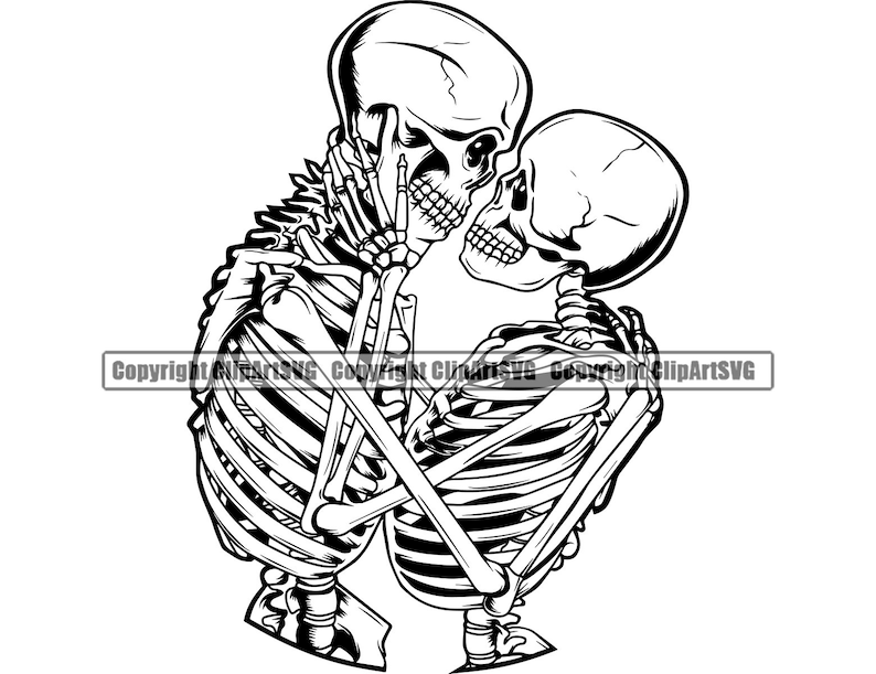 Skull Lovers Couple Love Romantic Soulmate Forever Infinity Death Dead Tattoo Design Artist Art Logo SVG PNG Clipart Vector Cut Cutting File photo