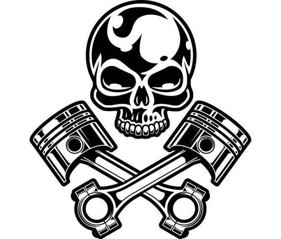 Motorcycle Logo 11 Chrome Skull Pistons Auto Mechanic Bike Etsy