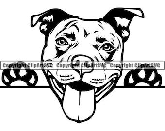 American Pit Bull #37 Peeking Dog Paw Puppy Pet Terrier Breed K-9 Canine Purebred Pedigree Logo .SVG .PNG Clipart Vector Cricut Cut Cutting