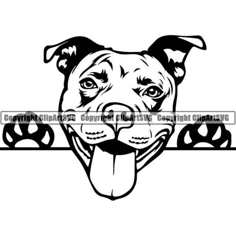 American Pit Bull #37 Peeking Dog Paw Puppy Pet Terrier Breed K-9 Canine Purebred Pedigree Logo .SVG .PNG Clipart Vector Cricut Cut Cutting photo
