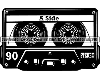 Cassette Tape Blank Love Song Mix Audio Player Recording Media Record Music Vintage Retro Logo .SVG .PNG Clipart Vector Cricut Cut Cutting