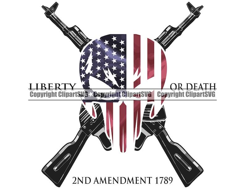 Skull Gun Flag 2nd Amendment USA United States America Pistol Rifle Firearm American Weapon Right Law Design Logo SVG PNG Clipart Vector Cut photo