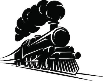 Steam Engine #1 Train Locomotive Vintage Railroad Track Transportation Logo .SVG .EPS .PNG Digital Clipart Vector Cricut Cut Cutting File