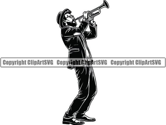 Trumpet #5 Jazz Trumpet Musician Musical Play Performer Classical Player  Horn Man Sound Blues  SVG  PNG Clipart Clipart Vector Cut Cutting