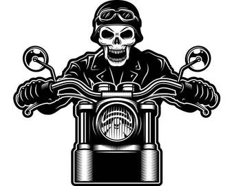 Motorcycle Skull #5 Leather Jacket Helmet Goggles Chopper Outlaw Bike Biker Shop Tattoo Logo.SVG .EPS .PNG Clipart Vector Cricut Cut Cutting