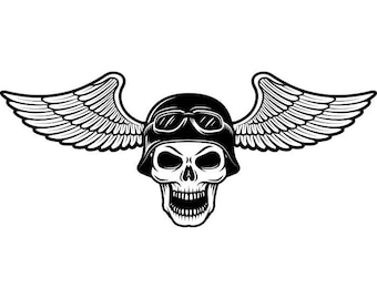 Motorcycle Skull #11 Helmet Goggles Wings Chopper Outlaw Bike Biker Repair Shop Tattoo Logo .SVG .EPS .PNG Clipart Vector Cricut Cut Cutting