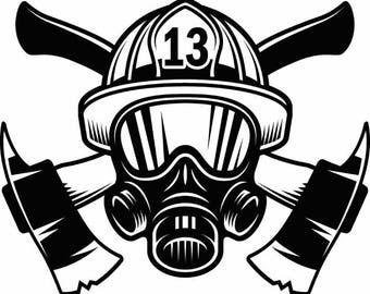 Firefighter Logo #1 Firefighting Rescue Helmet Mask Axes Fireman Fighting Fire .SVG .EPS .PNG Digital Clipart Vector Cricut Cut Cutting File