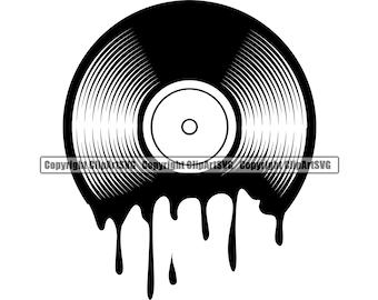 Vinyl Record Album Melting Dripping Music Turntable Player Mixer DJ Disc Jockey Club Stereo Sound Design Art Logo SVG PNG Vector Clipart Cut