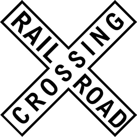 railroad crossing sign railway steam train engine locomotive etsy