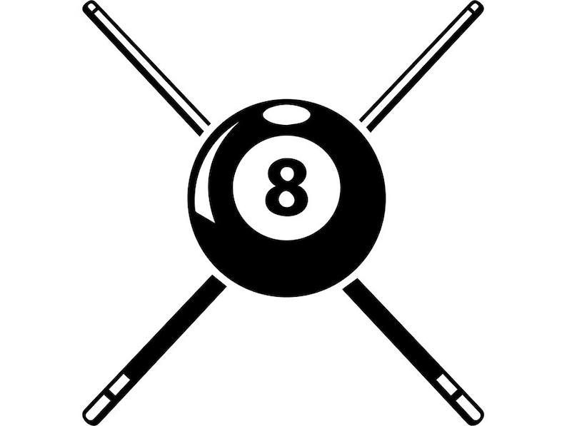 Billiards Pool Logo 42 Que Stick Eight 8 Nine 9 Ball