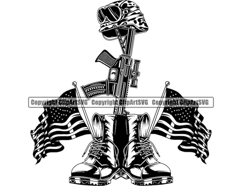 Military Boots Dog Tags Fallen Soldier Vet War Hero Army US Veteran Gun Boots Helmet P.O.W. M.I.A Art Design Logo SVG PNG Vector Clipart Cut photo