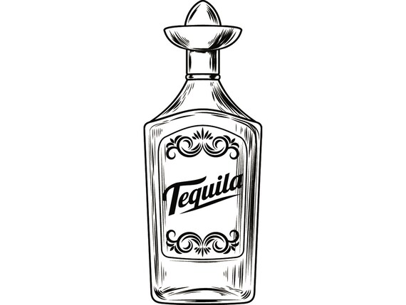 Alcohol Bottle 2 Tequila Liquor Sombrero Drink Drinking Etsy